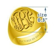 Round Girls s Embossed Monogram Ring