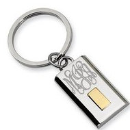 Stainless Steel Engravable Keychain W  24k Gold Plating