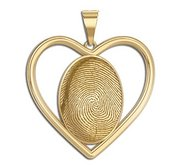Custom Heart Shaped Bezel 3D Fingeprint or Thumbprint Pendant