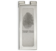 Stainless Steel Engraved Fingerprint Money Clip