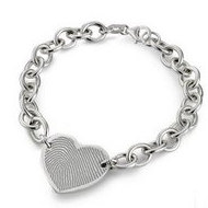 Sterling Silver  Engraved Fingerprint Bracelet