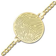 Round Thumbprint/Footprint Engraved Bracelet w/ Curb Chain