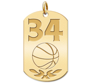 Personalized Basketball Number Dog Tag Pendant