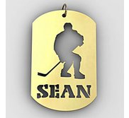 Personalized Hockey Player Name Dog Tag Cut Out Pendant