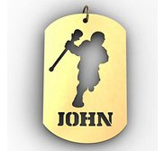 Personalized Male Lacrosse Player Name Dog Tag Cut Out Pendant