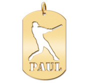 Personalized Baseball Slugger Name Dog Tag Cut Out Pendant