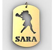 Personalized Female Lacrosse Player Name Dog Tag Cut Out Pendant