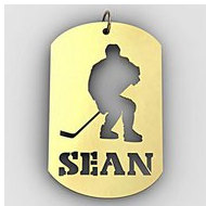 Personalized Hockey Player Name Dog Tag Cut-Out Pendant