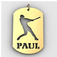 Personalized Softball Slugger Name Dog Tag Cut Out Pendant