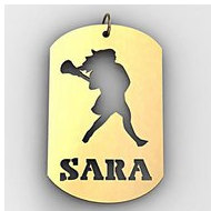 Personalized Female Lacrosse Player Name Dog Tag Cut-Out Pendant
