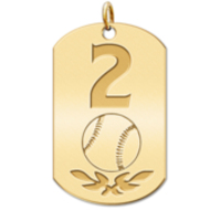 Personalized Baseball Number Dog Tag Pendant