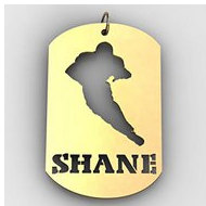 Personalized Football Name Dog Tag Cut-Out Pendant