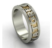 14K Two Toned Man s Personalized Band with Names and Date