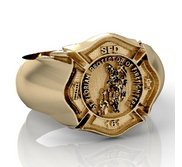 Saint Florian Personalized Fire Badge Ring