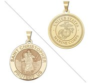 Saint Christopher Doubledside MARINES Religious Medal  EXCLUSIVE