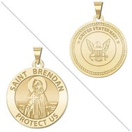 Saint Brendan Doubledside Navy Religious Medal  EXCLUSIVE