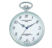 Charles Hubert Chrome Tone Premium Pocket Watch