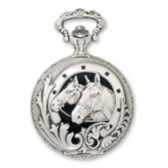 Charles Hubert Photo Chrome Tone Horse Pocket Watch