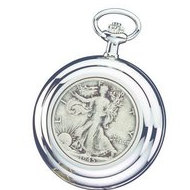 Charles Hubert Open Faced US Half Dollar Coin Pocket Watch