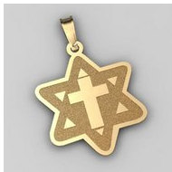 Star of David  w  Cross Pendant