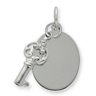 Sterling Silver Tag and Key Charms