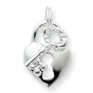 Sterling Silver Heart and Key Charms