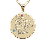 Mother with Daughter and Two Sons   with Birthstones Round Pendant