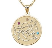 Mother with Three Sons   Round Pendant with Birthstones