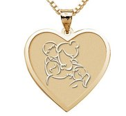Mother with Son and 2 Daughters Heart Pendant