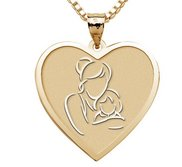 Mother and Daughter   Heart Pendant