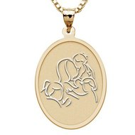 Mother with Three Daughters   Oval Pendant