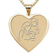 Mother with Two Daughters   Heart Pendant