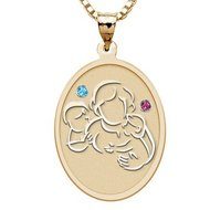 Mother with Son Daughter   Oval Pendant with Birthstones