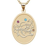 Mother with Three Sons Oval Pendant   with Birthstones