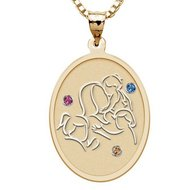 Mother with Three Daughters   Oval Pendant with Birthstones