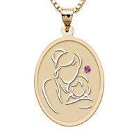 Mother and Daughter   Oval Pendant with Birthstone
