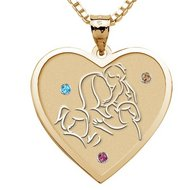 Mother with Three Daughters   Heart Pendant with Birthstones
