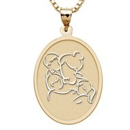 Mother with Son and Two Daughters   Oval Pendant