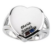2 Stone Mother s Personalized Heart Ring