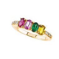 Mother s Ring with Four Birthstones and Diamonds