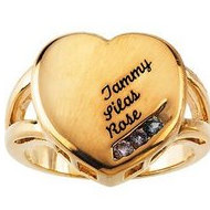3 Stone Mother s Personalized Heart Ring