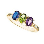 Mother s Ring with Three Birthstones and Diamonds