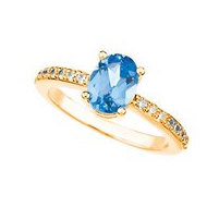 Mother s Ring with Single Birthstone with Diamonds