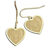 Mother with Two Daughters Heart Shaped Earrings  w  Kidney Wire