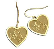 Mother with Son and Daughter Heart Shaped Earrings  w  Kidney Wire