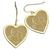 Mother and Son Heart Shaped Earrings  w  Kidney Wire