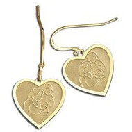 Mother with Two Daughters Heart-Shaped Earrings (w/ Kidney Wire)