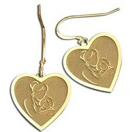 Mother and Daughter Heart-Shaped Earrings (w/ Kidney Wire)