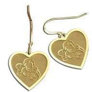 Mother with Son and Daughter Heart-Shaped Earrings (w/ Kidney Wire)