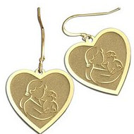 Mother and Son Heart-Shaped Earrings (w/ Kidney Wire)